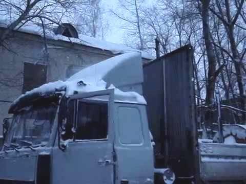 холодный запуск МАЗа с турбированным движком после зимы простоя